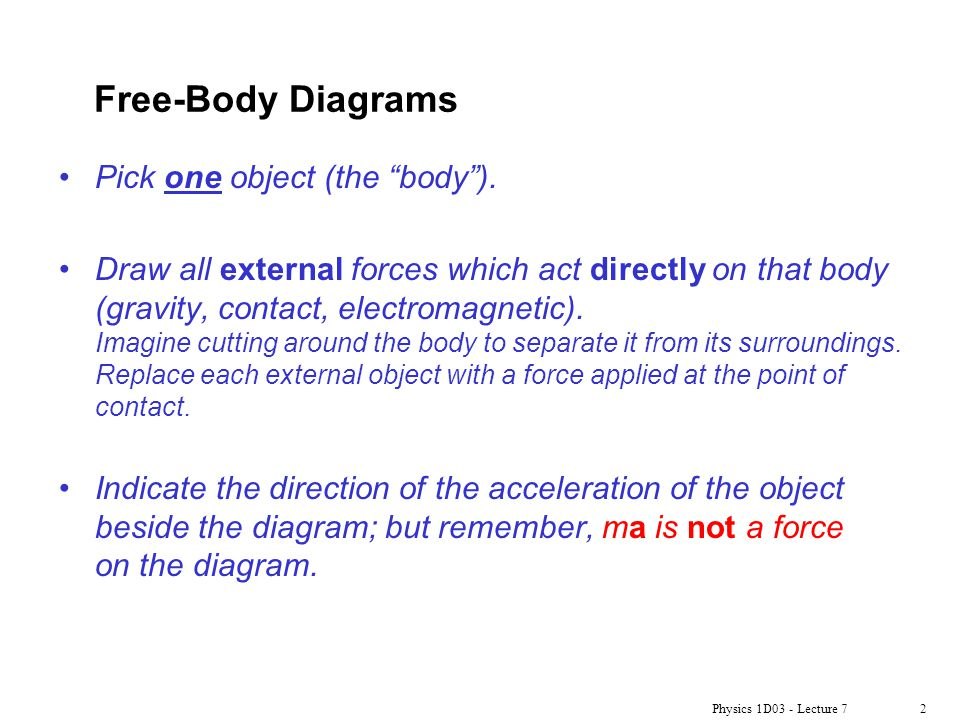 Free-Body Diagrams Pick one object (the body ).