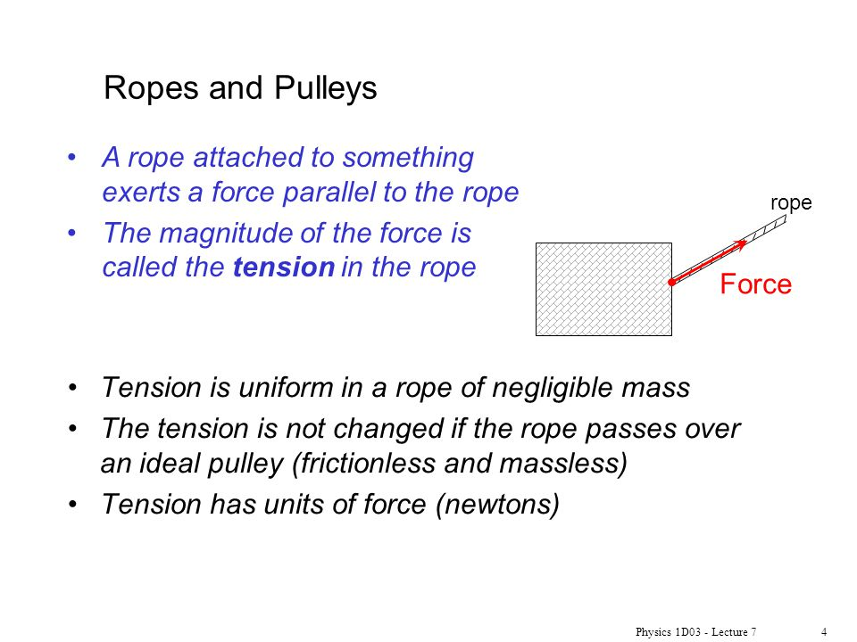 Ropes and Pulleys A rope attached to something exerts a force parallel to the rope. The magnitude of the force is called the tension in the rope.