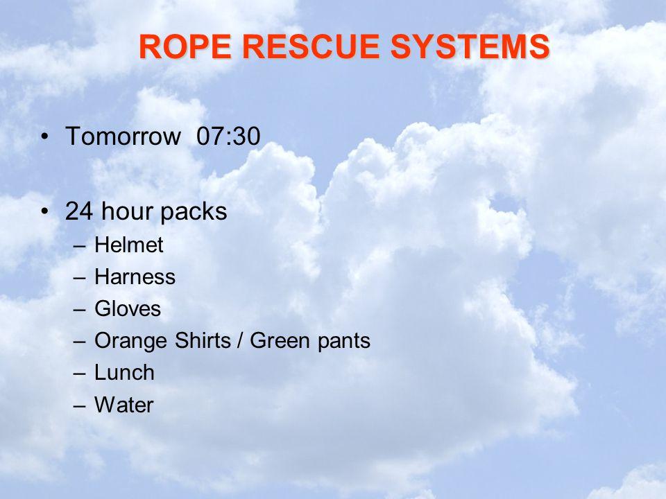 Tomorrow 07:30 24 hour packs Helmet Harness Gloves