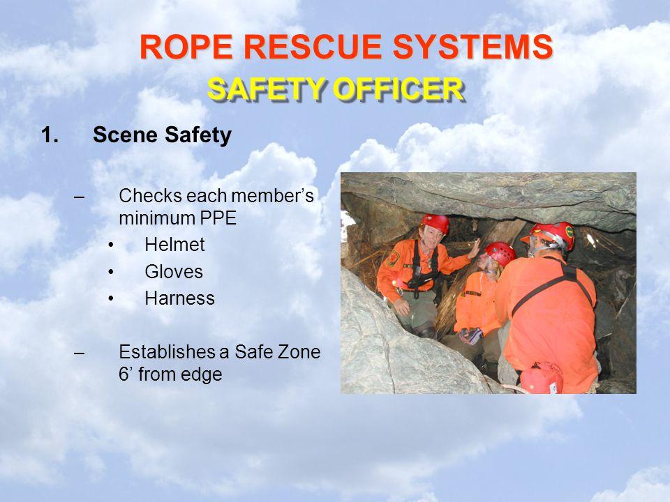 SAFETY OFFICER Scene Safety Checks each member's minimum PPE Helmet