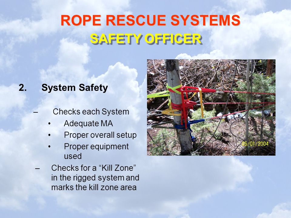 SAFETY OFFICER System Safety Checks each System Adequate MA