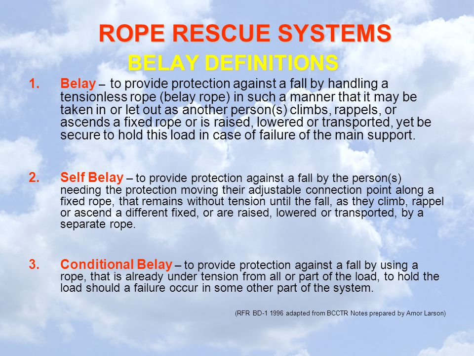 BELAY DEFINITIONS