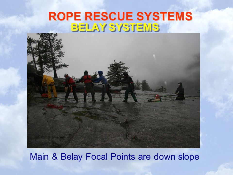 Main & Belay Focal Points are down slope