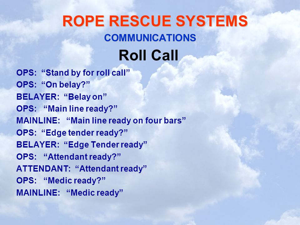 Roll Call COMMUNICATIONS OPS: Stand by for roll call