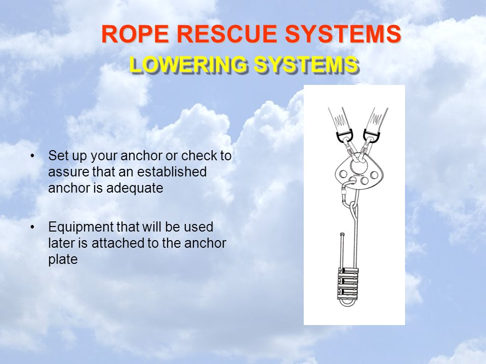 LOWERING SYSTEMS Set up your anchor or check to assure that an established anchor is adequate.