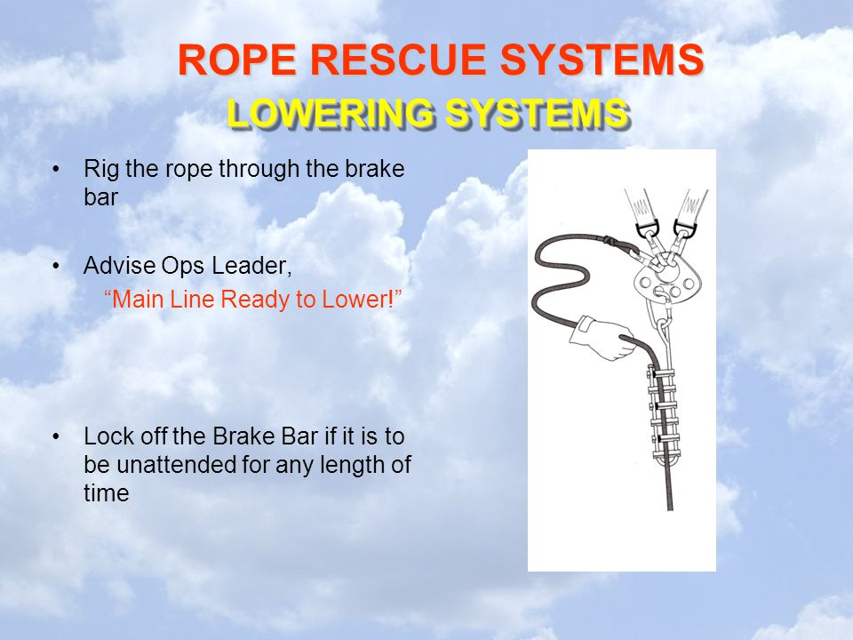 LOWERING SYSTEMS Rig the rope through the brake bar Advise Ops Leader,