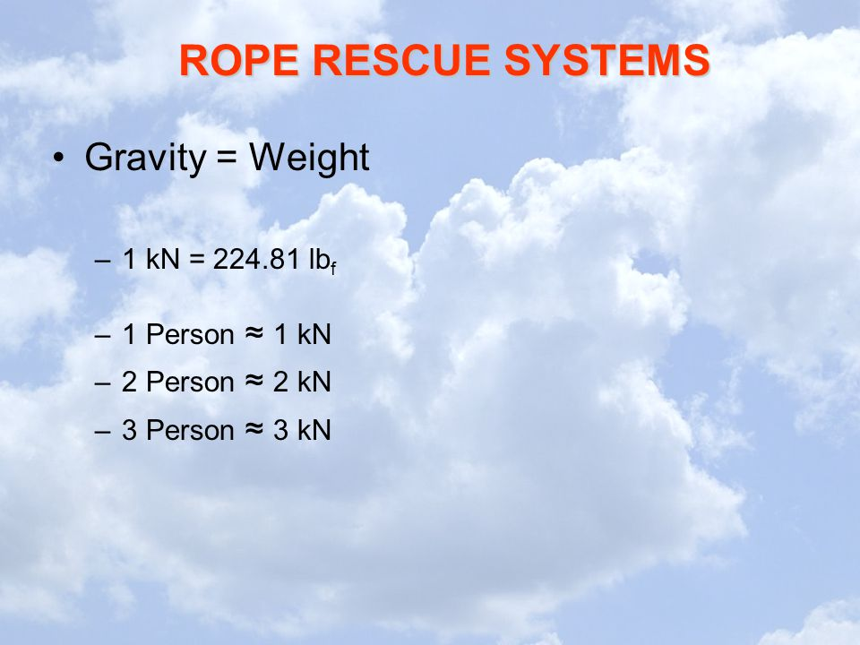 Gravity = Weight 1 kN = 224.81 lbf 1 Person ≈ 1 kN 2 Person ≈ 2 kN