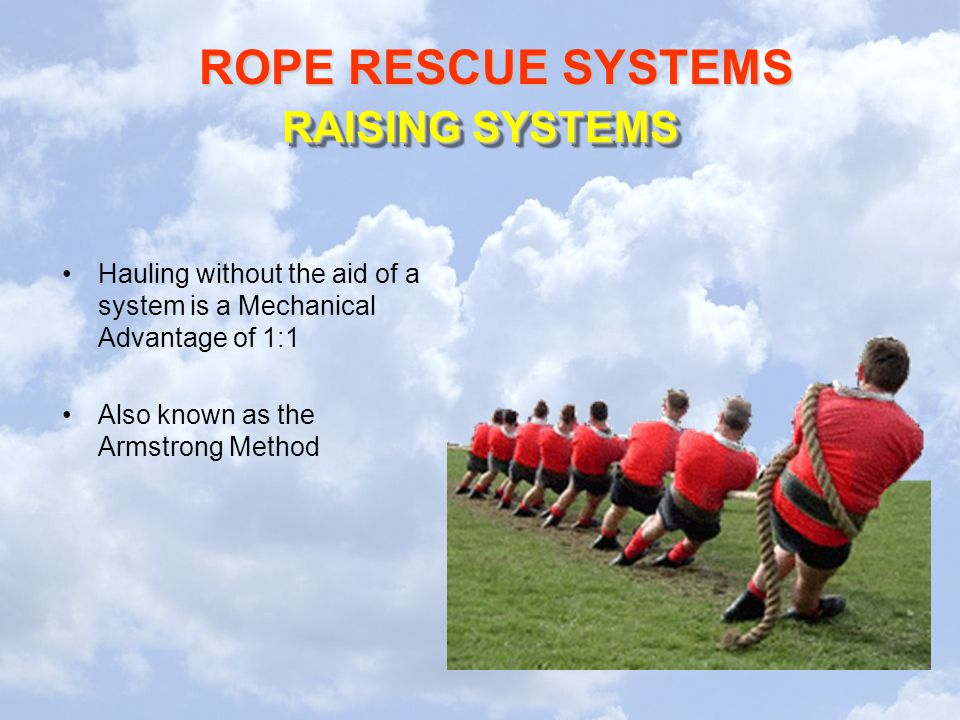 RAISING SYSTEMS Hauling without the aid of a system is a Mechanical Advantage of 1:1.