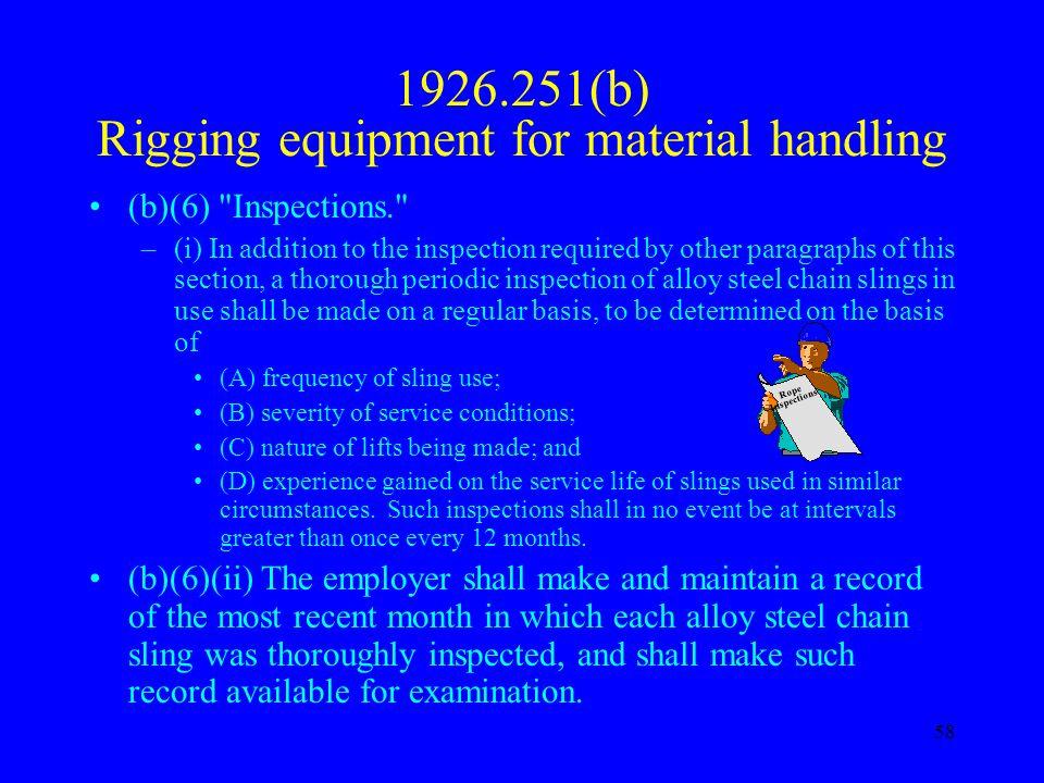 1926.251(b) Rigging equipment for material handling