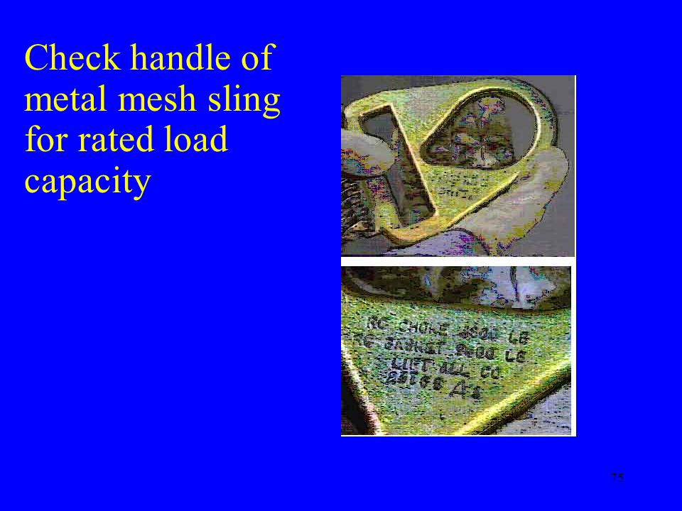 Check handle of metal mesh sling for rated load capacity