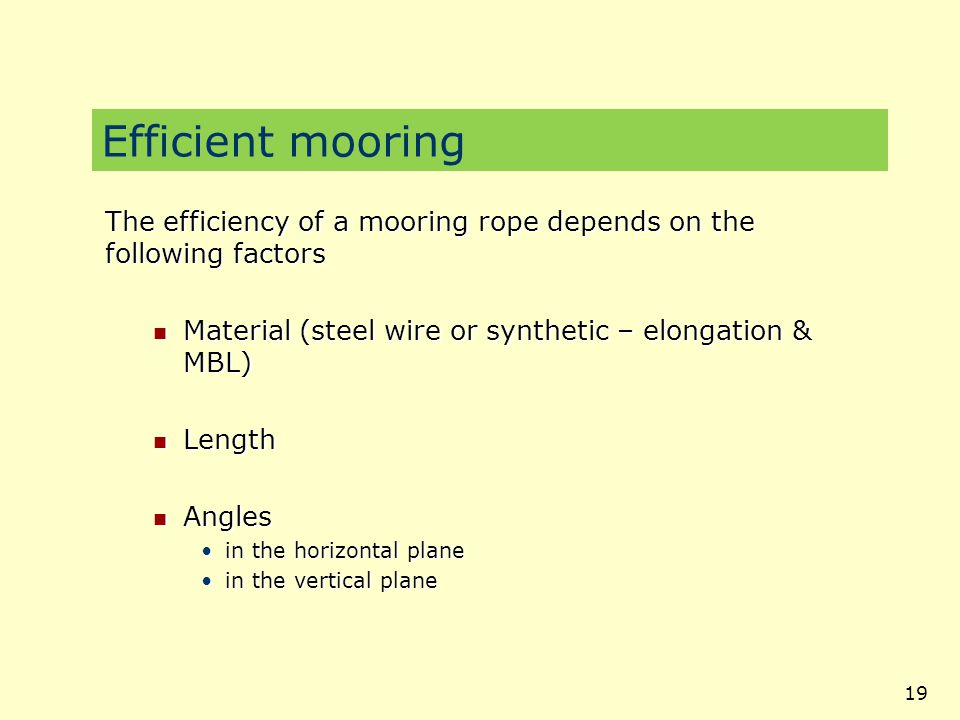 Efficient mooring The efficiency of a mooring rope depends on the following factors. Material (steel wire or synthetic – elongation & MBL)