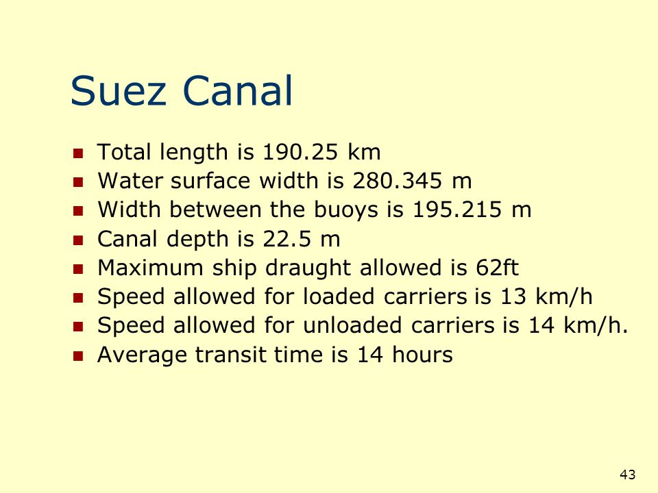 Suez Canal Total length is 190.25 km Water surface width is 280.345 m