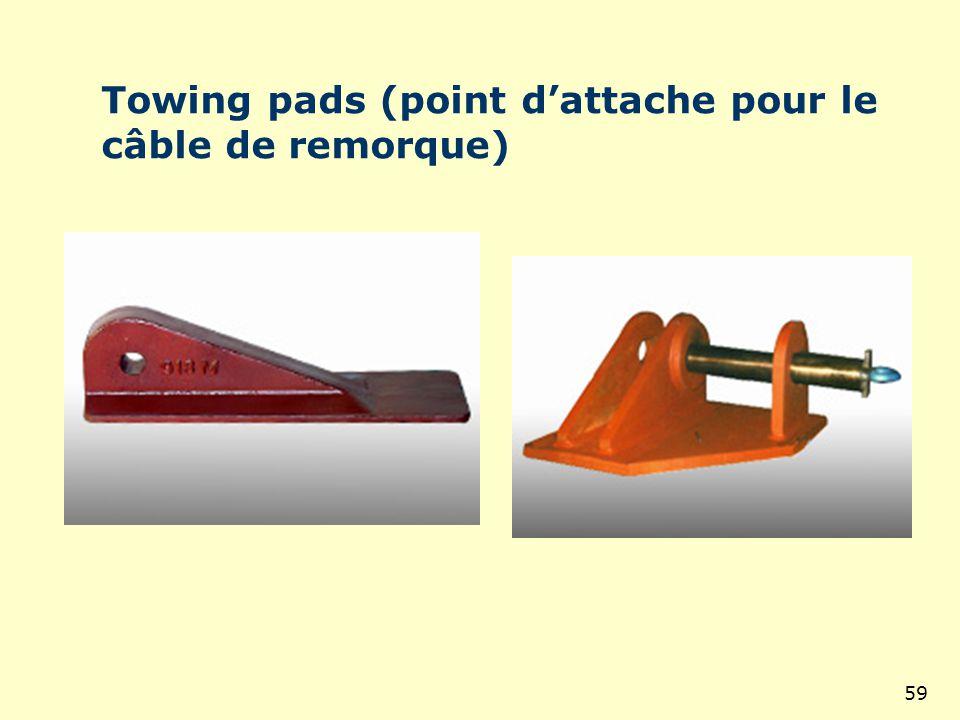 Towing pads (point d'attache pour le câble de remorque)