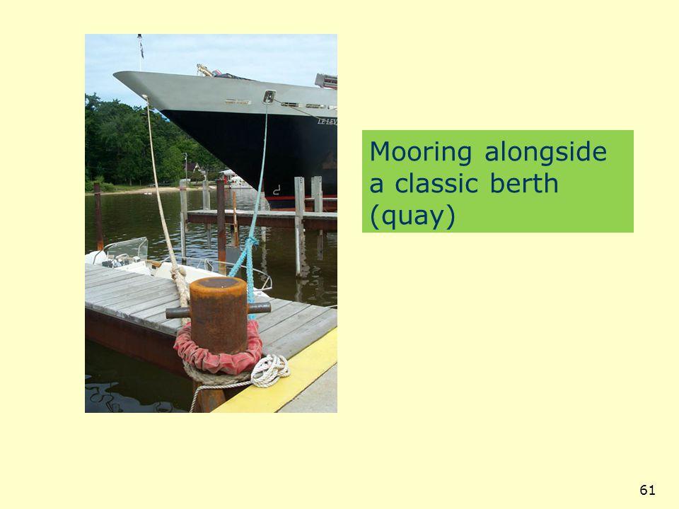 Mooring alongside a classic berth (quay)