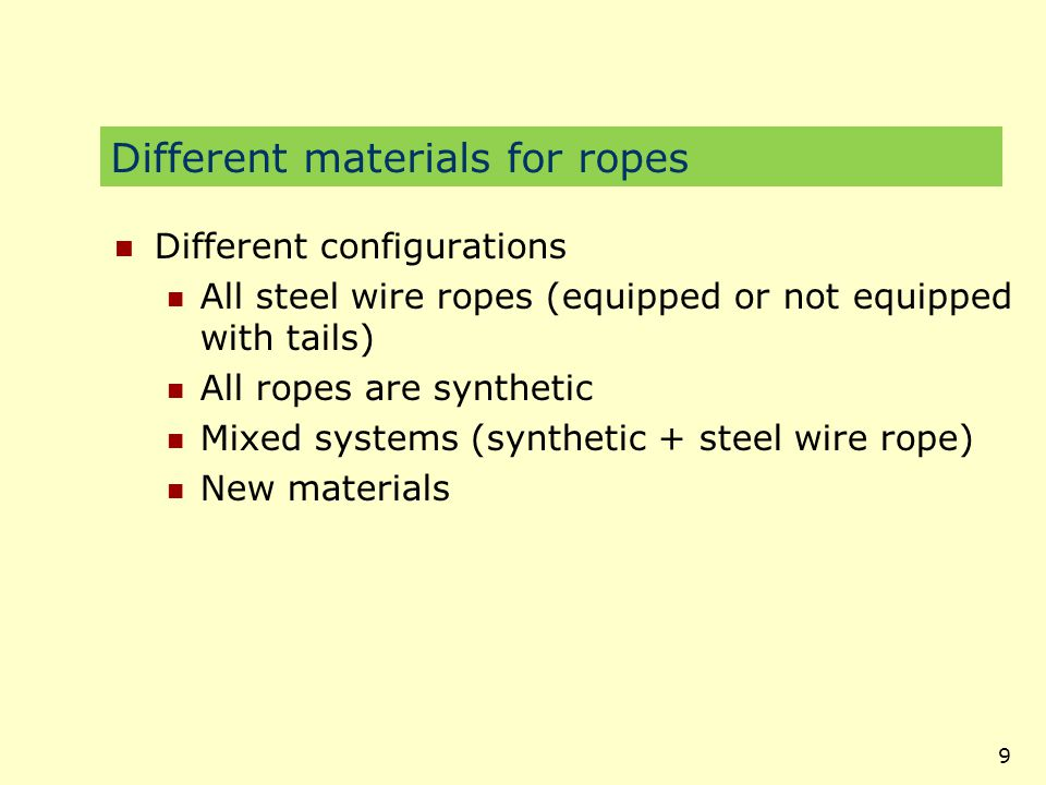 Different materials for ropes