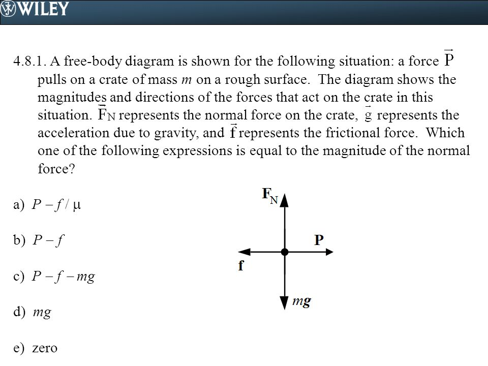 4.8.1. A free-body diagram is shown for the following situation: a force pulls on a crate of mass m on a rough surface. The diagram shows the magnitudes and directions of the forces that act on the crate in this situation. represents the normal force on the crate, represents the acceleration due to gravity, and represents the frictional force. Which one of the following expressions is equal to the magnitude of the normal force