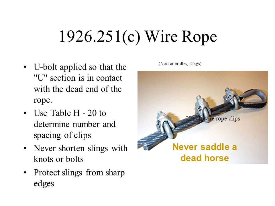 1926.251(c) Wire Rope U-bolt applied so that the U section is in contact with the dead end of the rope.