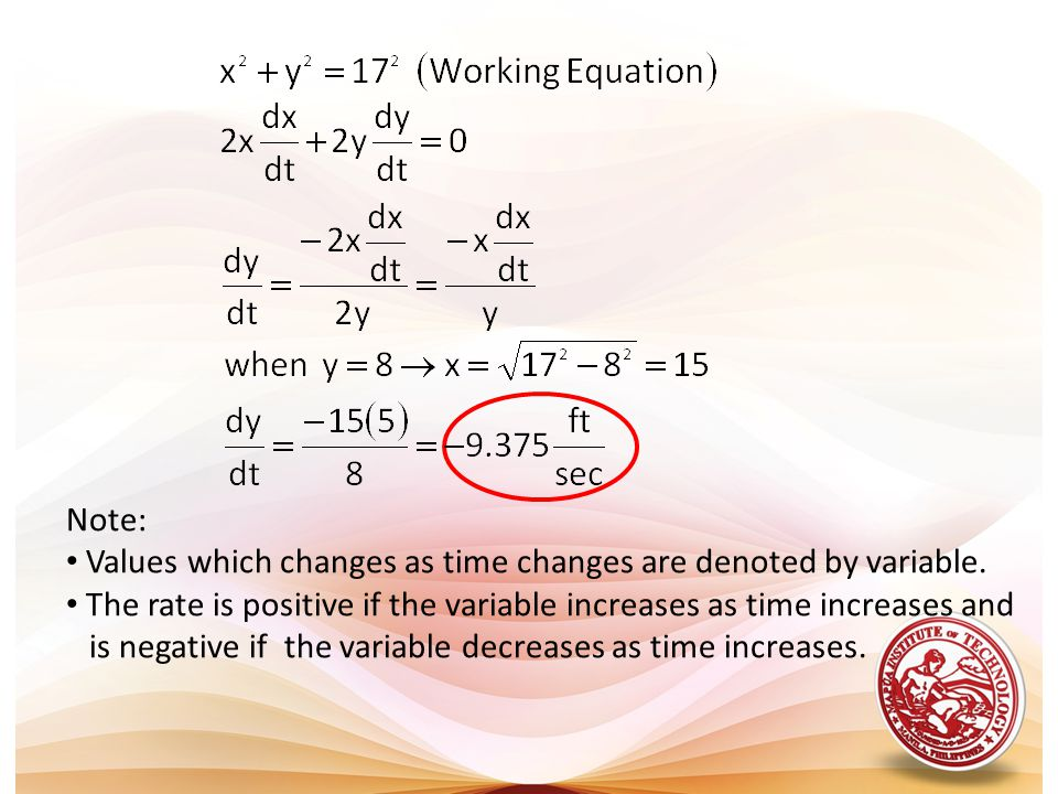 Note: Values which changes as time changes are denoted by variable. The rate is positive if the variable increases as time increases and.