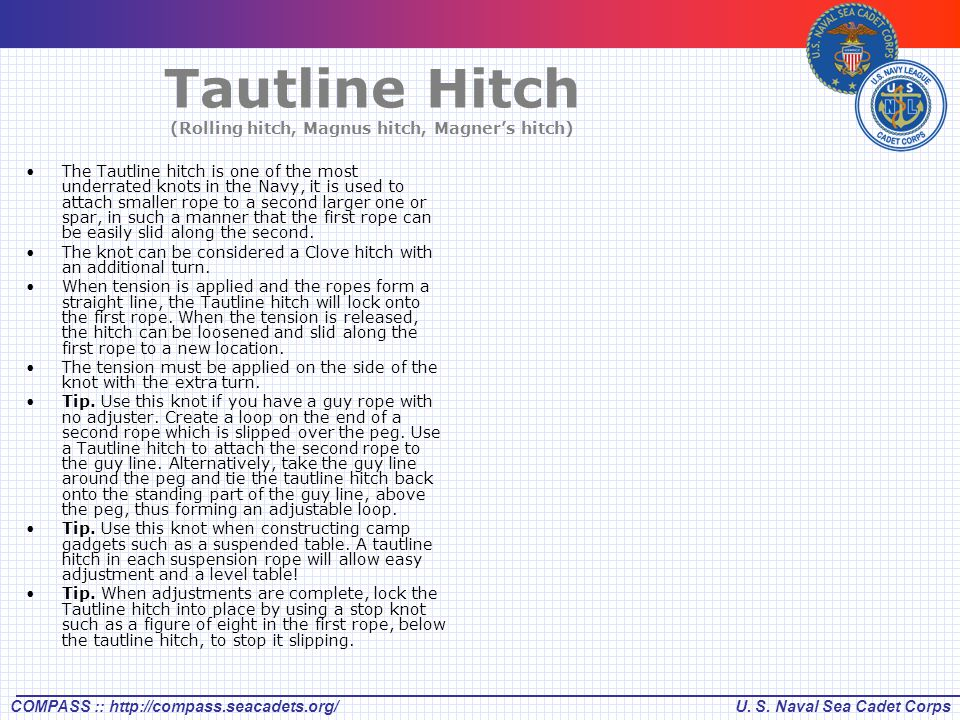 Tautline Hitch (Rolling hitch, Magnus hitch, Magner's hitch)