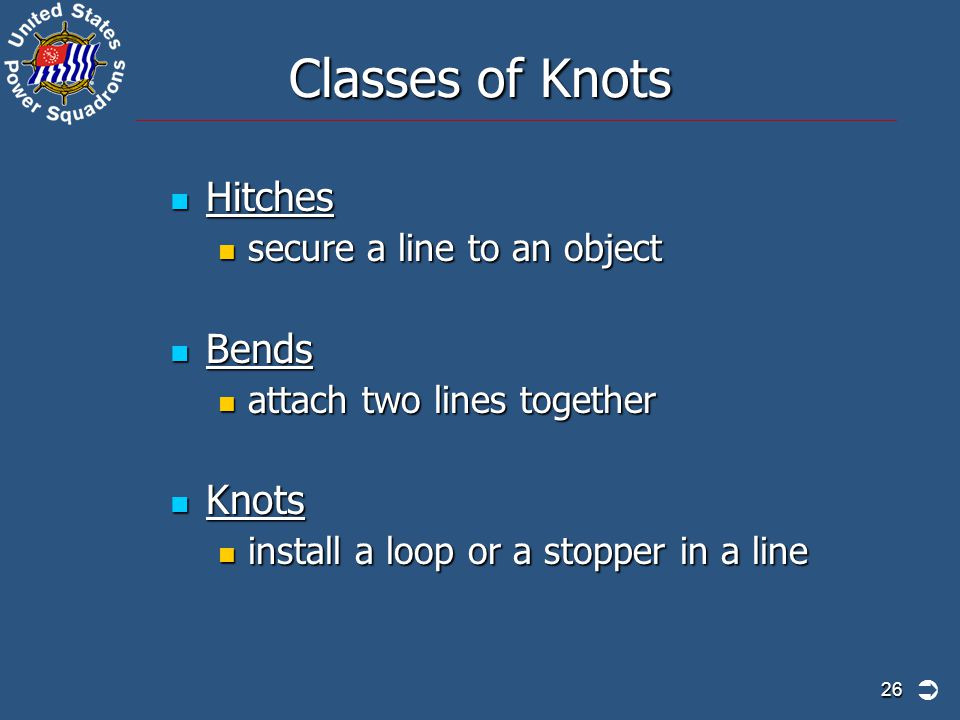 Classes of Knots Hitches Bends Knots secure a line to an object