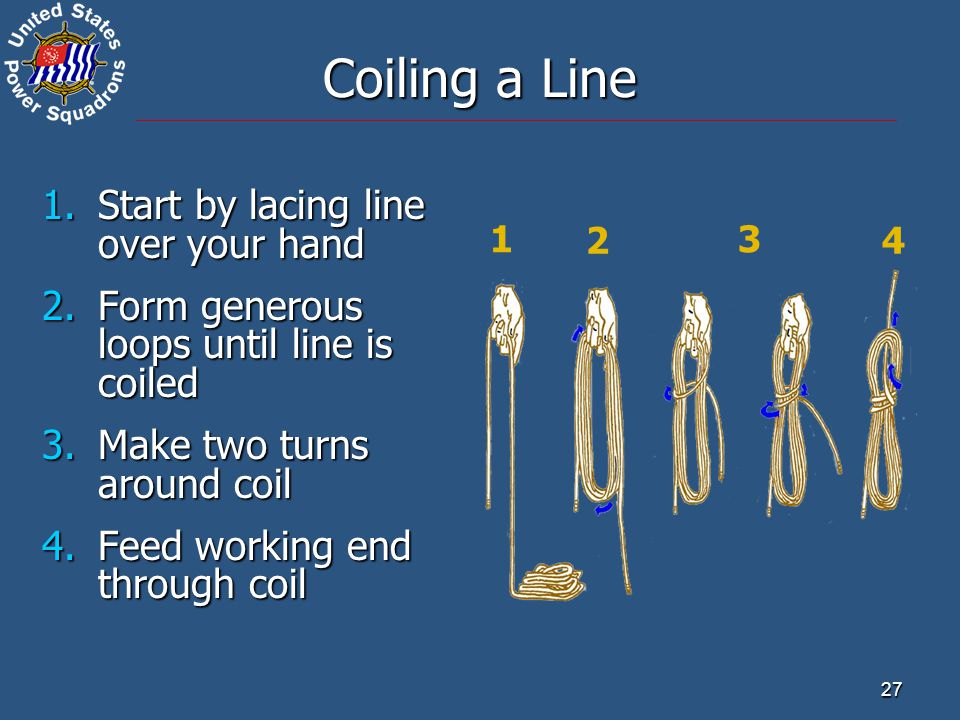 Coiling a Line Start by lacing line over your hand