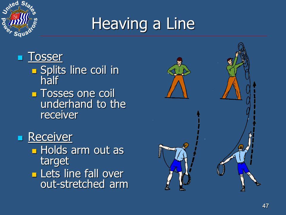 Heaving a Line Tosser Receiver Splits line coil in half
