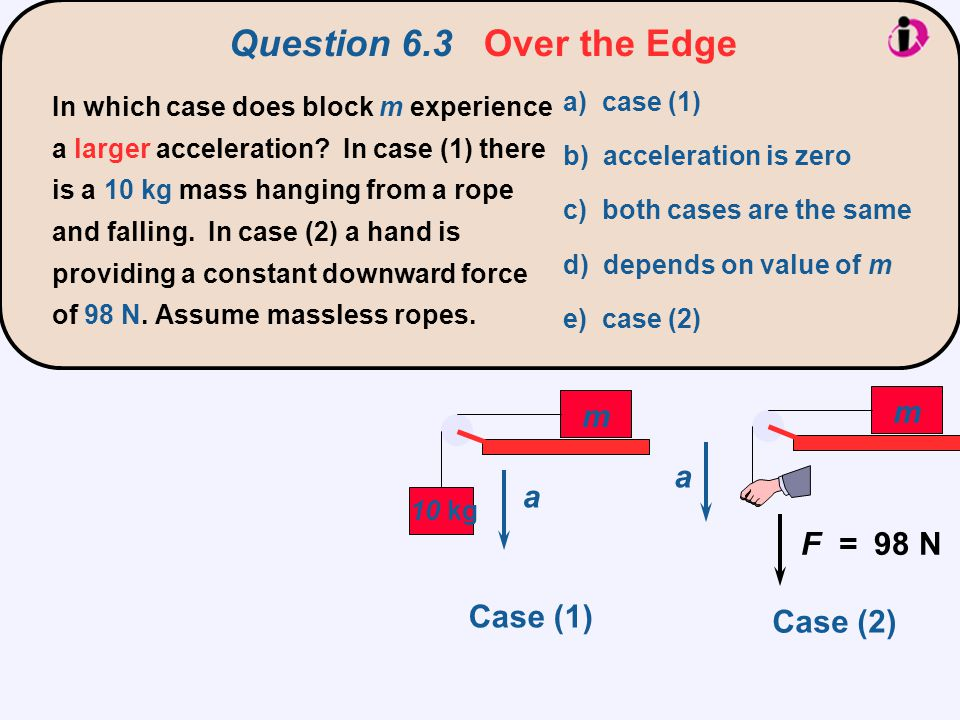 Question 6.3 Over the Edge m m a a F = 98 N Case (1) Case (2)
