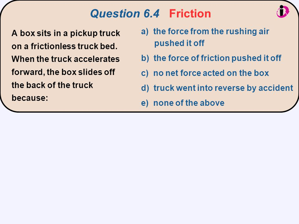 Question 6.4 Friction a) the force from the rushing air pushed it off