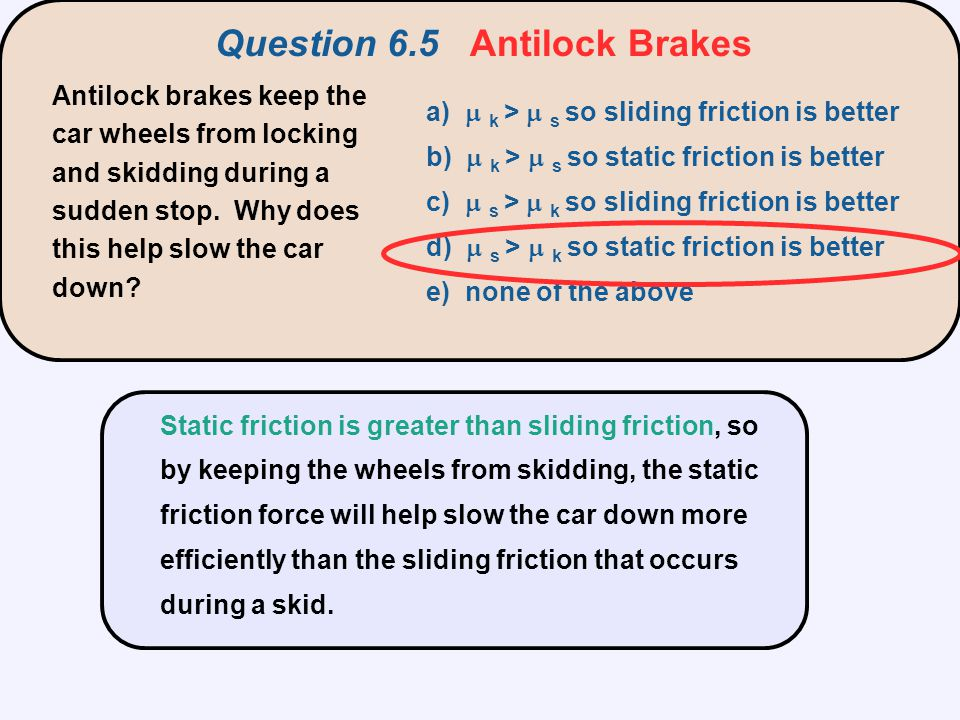 Question 6.5 Antilock Brakes