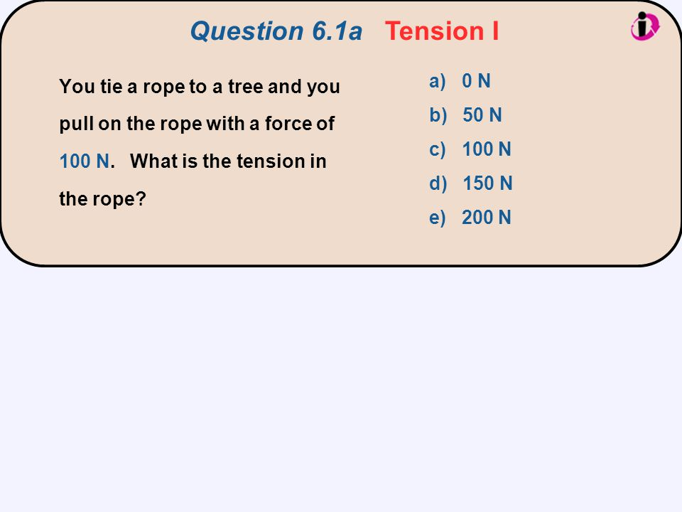Question 6.1a Tension I You tie a rope to a tree and you pull on the rope with a force of 100 N. What is the tension in the rope