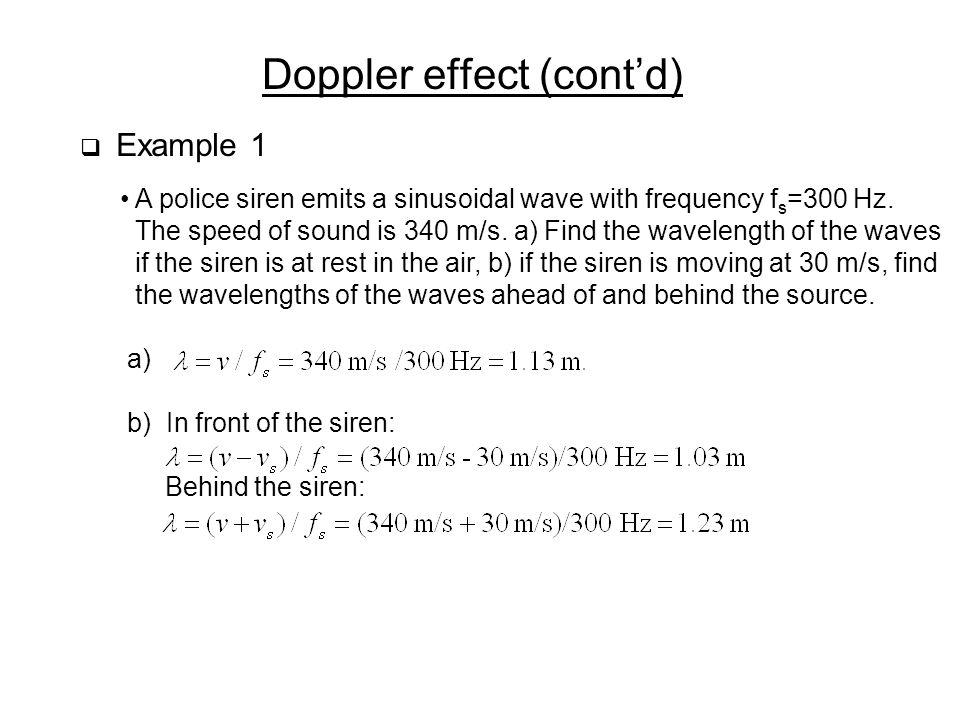 Doppler effect (cont'd)
