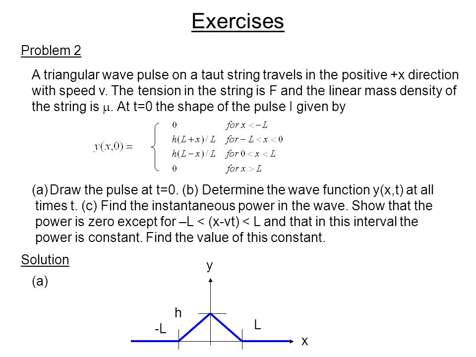 Exercises Problem 2. A triangular wave pulse on a taut string travels in the positive +x direction.