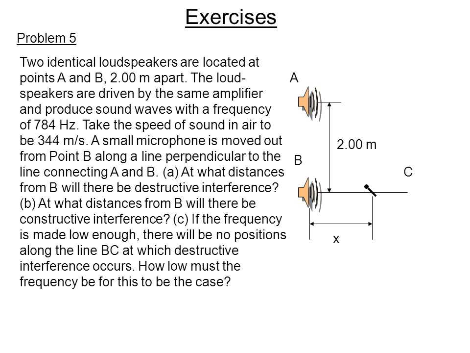 Exercises Problem 5 Two identical loudspeakers are located at