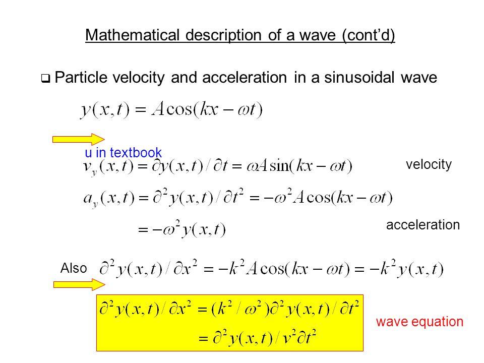 Mathematical description of a wave (cont'd)