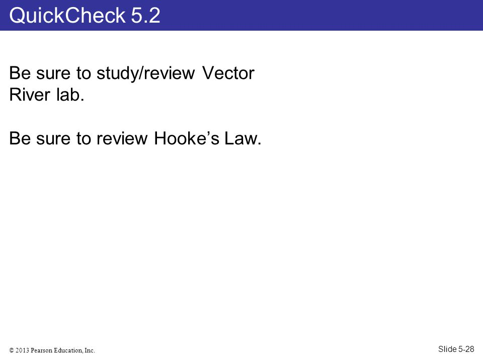 QuickCheck 5.2 Be sure to study/review Vector River lab.
