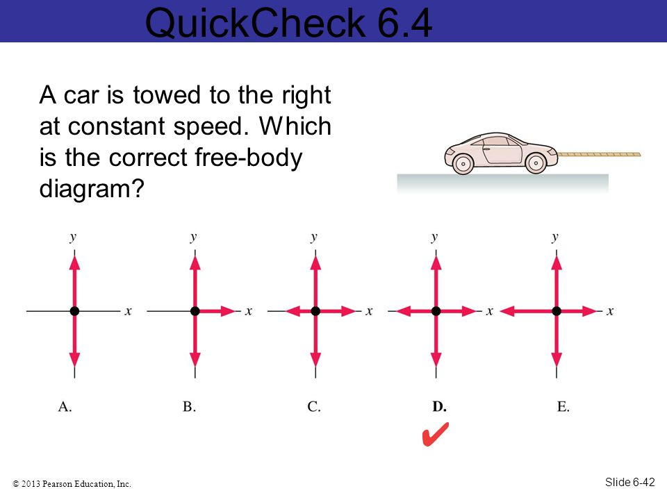 QuickCheck 6.4 A car is towed to the right at constant speed. Which is the correct free-body diagram