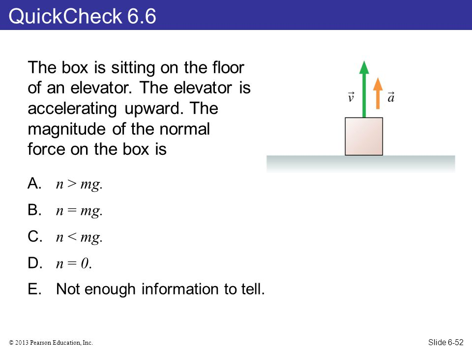 QuickCheck 6.6 The box is sitting on the floor of an elevator. The elevator is accelerating upward. The magnitude of the normal force on the box is.