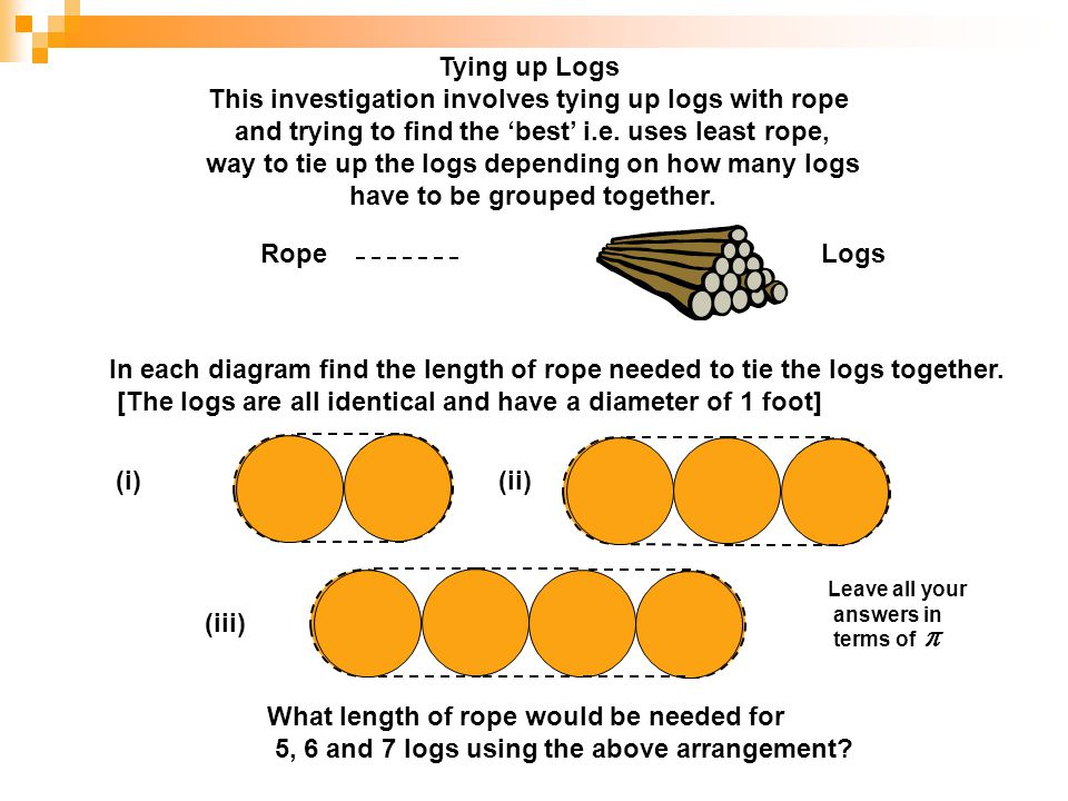 This investigation involves tying up logs with rope