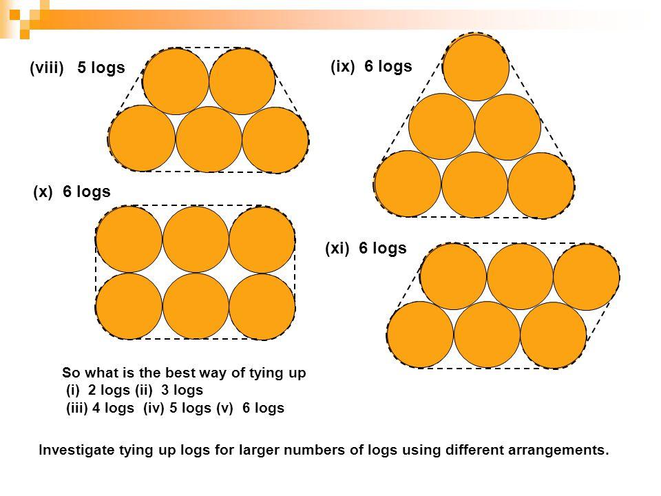 (viii) 5 logs (ix) 6 logs (x) 6 logs (xi) 6 logs