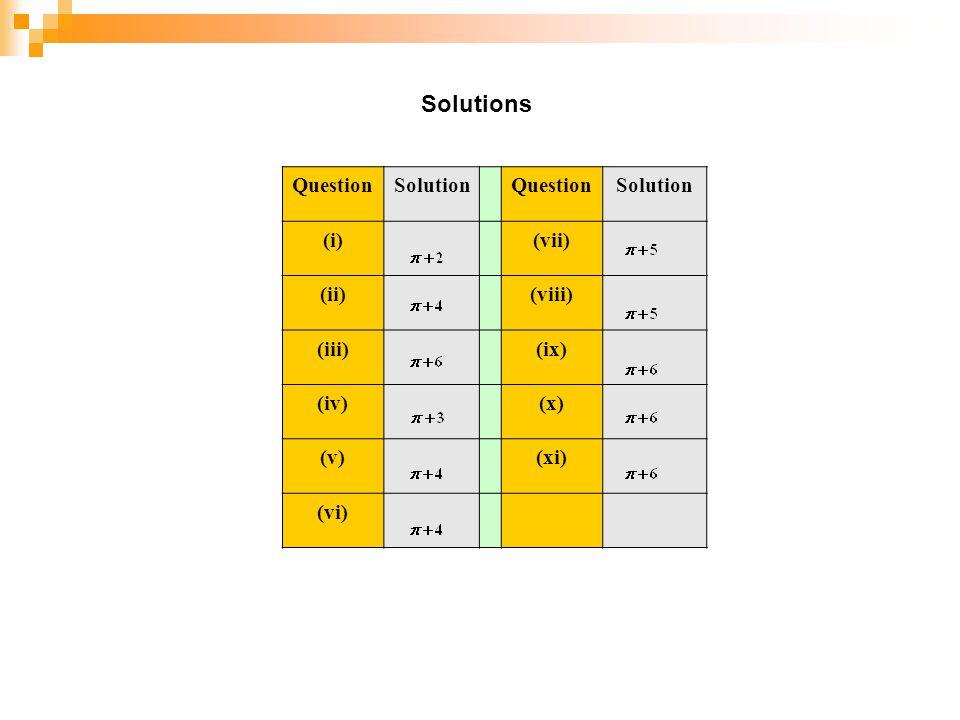 Solutions Question Solution (i) (vii) (ii) (viii) (iii) (ix) (iv) (x)