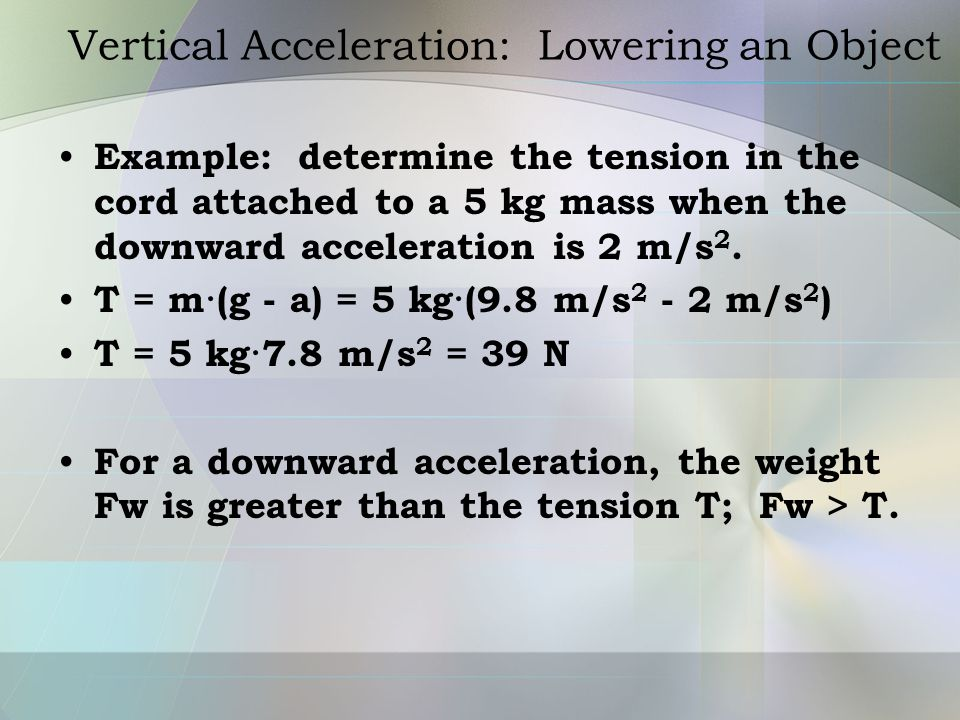 Vertical Acceleration: Lowering an Object