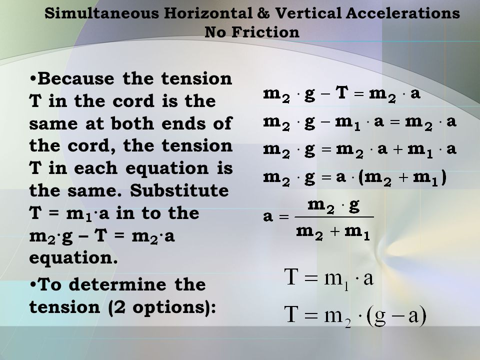 Simultaneous Horizontal & Vertical Accelerations No Friction