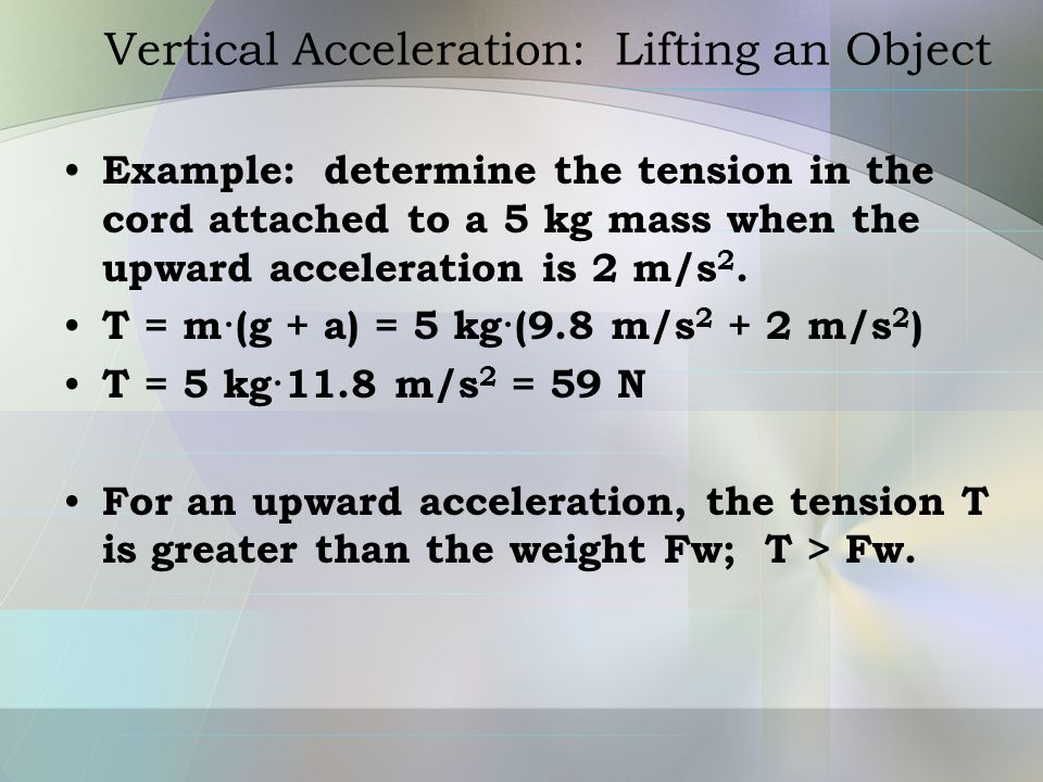 Vertical Acceleration: Lifting an Object