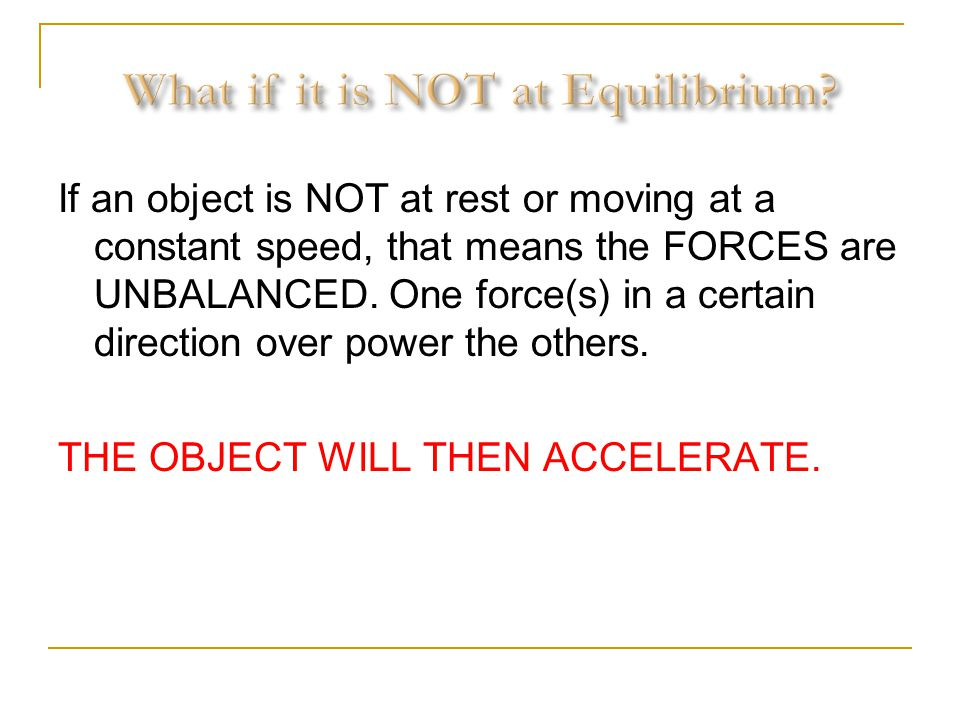 What if it is NOT at Equilibrium