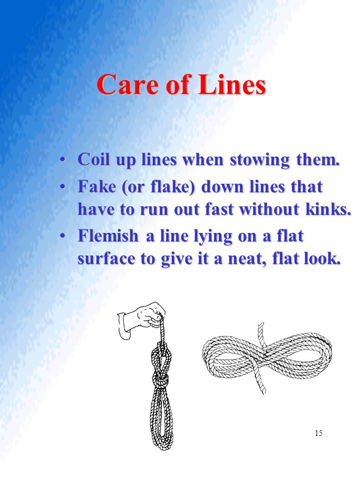 Care of Lines Coil up lines when stowing them.