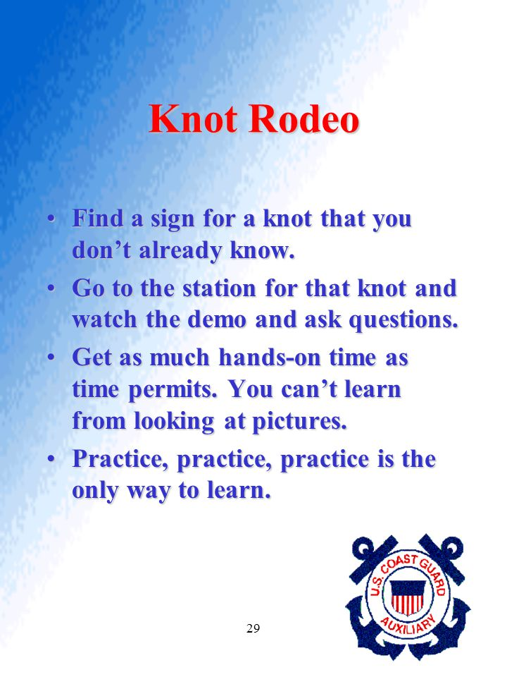 Knot Rodeo Find a sign for a knot that you don't already know.