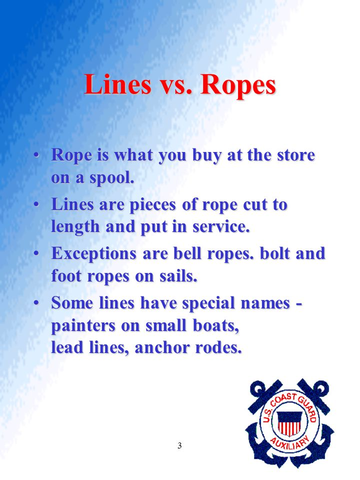 Lines vs. Ropes Rope is what you buy at the store on a spool.