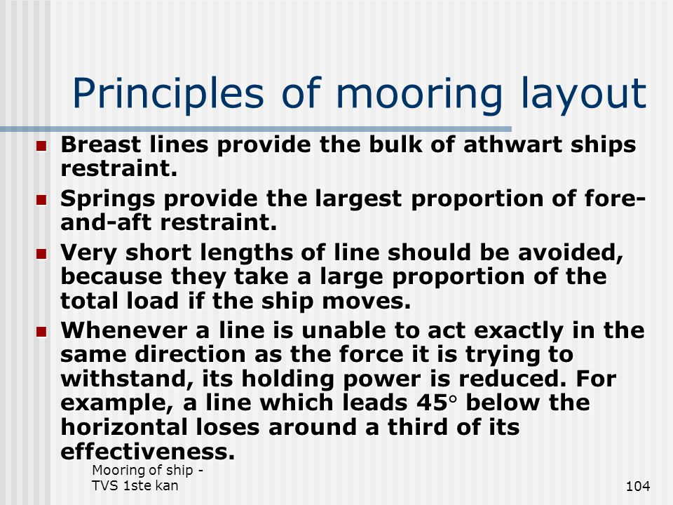 Principles of mooring layout
