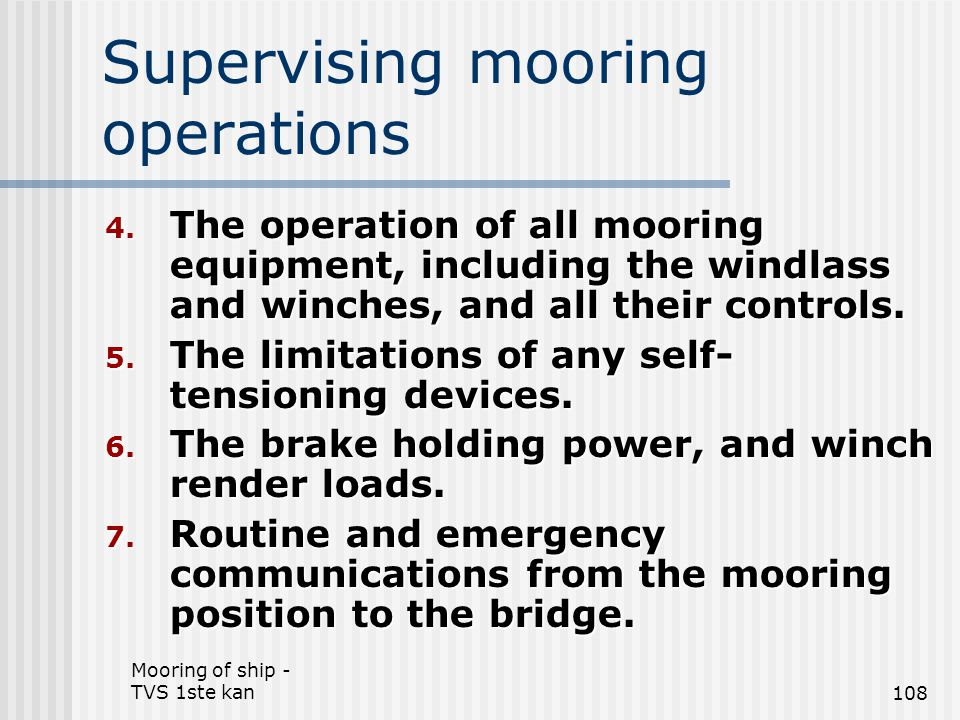 Supervising mooring operations