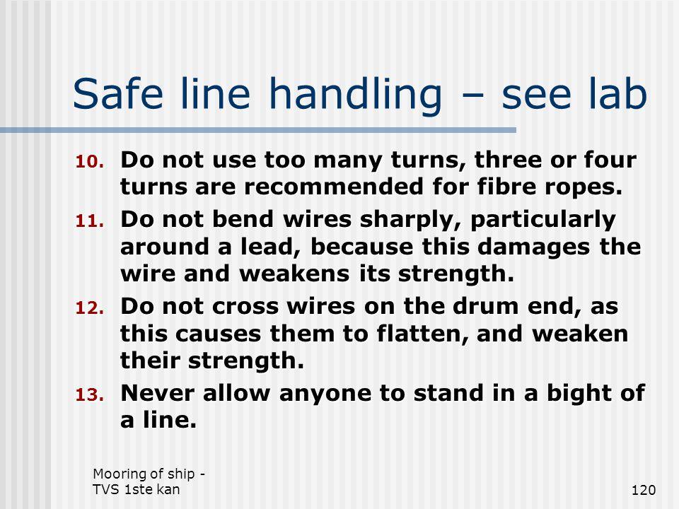 Safe line handling – see lab